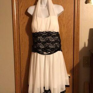 Deb size 1X white and black formal halter dress